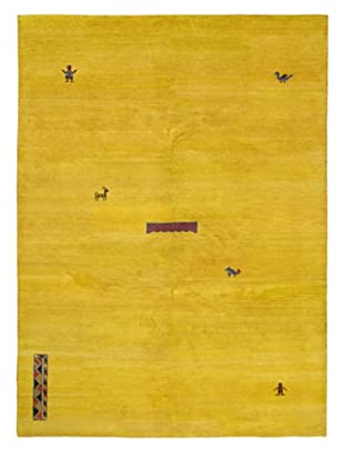 Hand-Knotted Indian Gabbeh Wool Rug, Yellow, 8' 3
