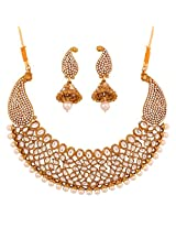 Touchstone Antique Gold Plated rich traditional Indo-western Necklace Set PWNSL381-02AP-G