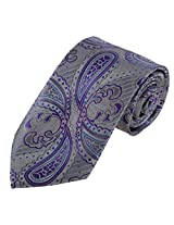 DAA7B31B Grey Purple Paisley Woven Microfiber Necktie for Boss Whole Sale for Working Day By Dan Smith
