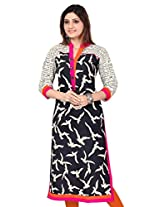 Black Kite Women's Cotton Long Printed Kurti (K0367-XXL_Black)