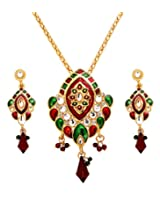 Sharnam Art Red And Green Gorgeous Menakari Pendant And Matching Earrings For Women - cl_1122