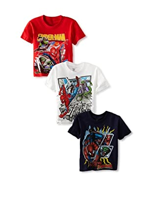 Freeze Boy's Spiderman 3-Pack T-Shirt Bundle (Navy/Red/White)