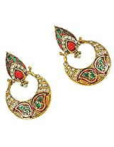 Surat Diamonds Drop Shaped Red-Green Enamelled, Studded with White Stones & Gold Plated Hanging Earrings for Women (PSE13)