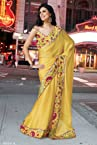 DESIGNER latest BEAUTIFUL Faux Georgette Yellow Saree AJ016