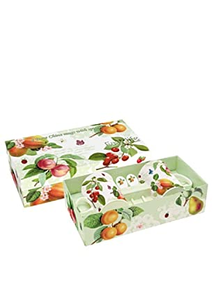 Easy Life Design Set 2 Mug con Cucchiaini in Porcellana Bone China Fruit 300 ml