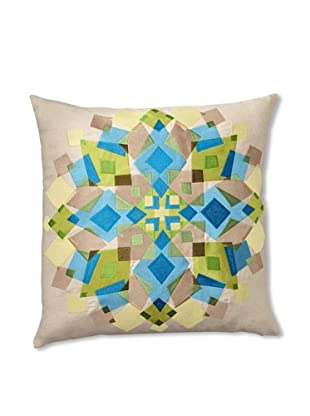 Trina Turk Kaleidoscope Embroidered Pillow (Blue/Green)