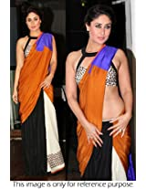 Bollywood Replica Kareena Kapoor Moss Velvet Saree In Brown And Black And White Colour Nc190