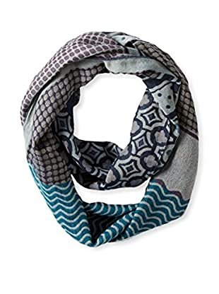Saachi Women's Mixed Print Loop Scarf, Teal Denim