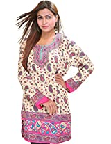 Exotic India Casual Kurti with Printed Paisleys - Color PinkGarment Size Free Size
