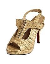 Fascino Women'S Croc Textured White Pu Heels -