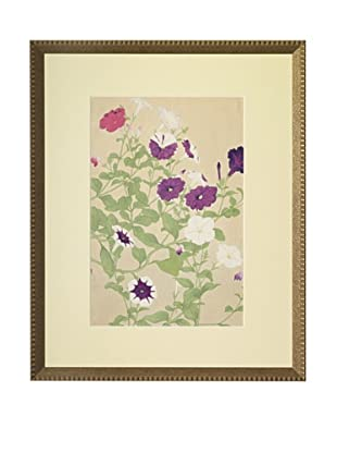 1929 Botanical Japanese Woodblock Petunias