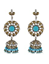 Be You Elegant Blue Colour Victorian Look Rhodium Plated Brass Jhumki Earring for Women