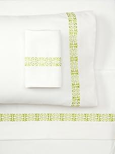 Pure Fiber Embroidered Sheet Set (Green/Pure White)