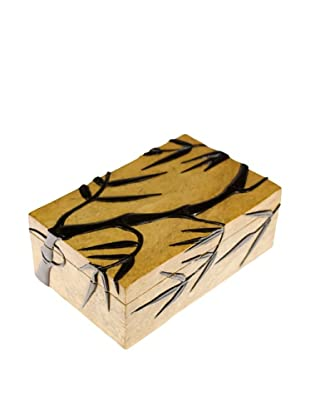 The Niger Bend Rectangular Soapstone Box with Black Bamboo Design