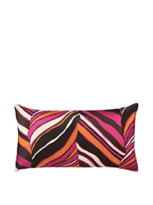Trina Turk Tiger Leaf Embroidery Linen Pillow (Pink)
