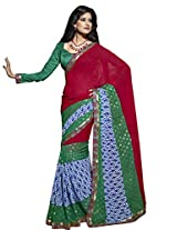 Triveni Evoking Sleek Bordered Party Wear Indian Ethnic Designed Saree