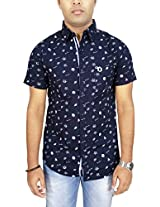 AA' Southbay Men's Dark Blue Shell Print Linen Cotton Half Sleeve Casual Shirt
