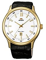 Orient Dressy Quartz Men White Dial Black leather Strap Round Shape, Made in Japan