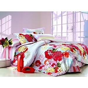 Mebelkart 100% Cotton Bed Sheet : Red Flower Design