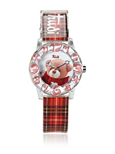 Trudi Kid's Teddy Bear Watch, Checked Red