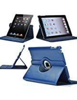 1Ness 360 Degree Rotating Leather Case Cover Stand For iPad 4, iPad 3, iPad 2 - Navy Blue