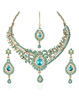 I Jewels Traditional Gold Plated Stone Necklace Set with maang tikka for Women(Rama/Bluish Green)(M4030Sb)