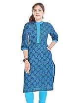 Shop Avenue Women's Cotton Regular Fit Kurti (WGS07101, Blue, X-Large)
