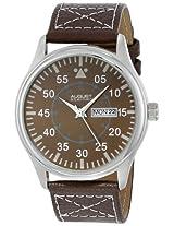 August Steiner Men's AS8074BR Quartz Brown Dial Brown Leather Strap Watch