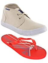 Gas Arunta Beige Men Casual Shoes with Lotto Slippers