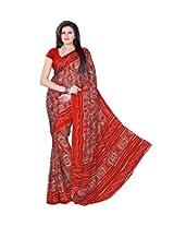 Rajasthani Bandhani Bandhej Red Moss Chunri