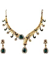 Vivanta Green Gold Plated Necklace And Earrings Set For Women (VD-N112)