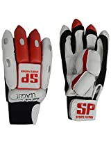 SP Sports Panther League Unisex Leather And PU Batting Gloves Youth White