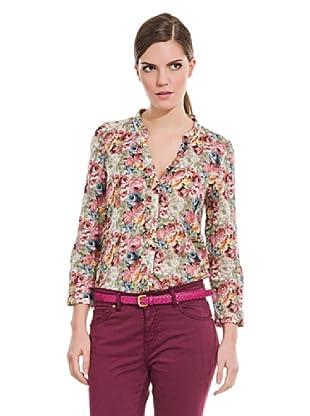 Cortefiel Camisa Flores Y Volantitos (Multicolor)
