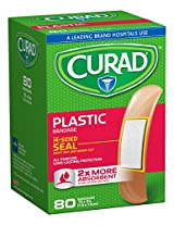 Curad Plastic, 3/4  x 2 7/8 Inches, 80 count  (Pack of 4)