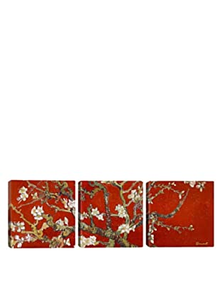 iCanvasArt Vincent Van Gogh: Almond Blossom, Red Panoramic Giclée Triptych
