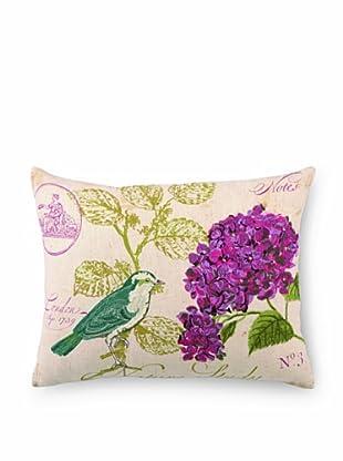 "Kathryn White Nature Study No. 3 Pillow, Purple/Green, 14"" x 18"""