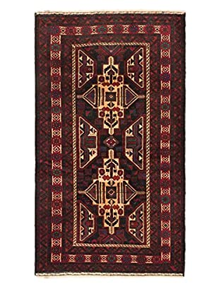 Hand-Knotted Finest Rizbaft Wool Rug, Black/Dark Red, 4' x 6' 9