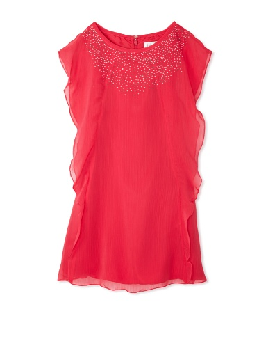 Blush by US Angels Girl's Cascade Sleeve Dress (Rouge)