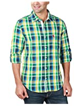 REIGN OF FASHION Men's Casual Shirt (500034, Greenish Checks, 3X-Large)