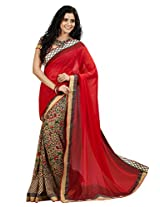 Vibes Georgette Patch Work Saree (S23-1107A _Red)