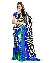 Ethnic Queen Georgette Blue Colour Saree