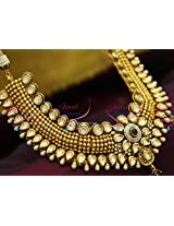 Exclusive Beads Design Kundan Necklace Broad Choker Bridal Jewellery Set