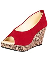 KA Fashion Red Non-Synthetic Peep Toe Footwear For Girls(Size-8)
