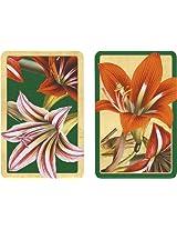 Entertaining with Caspari Double Deck of Bridge Playing Cards with Jumbo Typeface, Amaryllis, Set of 2