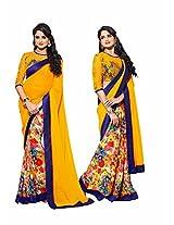 Rajshri Fashions Georgette Saree (102 _Yellow)