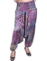 Exotic India Harem Satin Trousers with Printed Paisleys and Flowers - Color VioletGarment Size Free Size