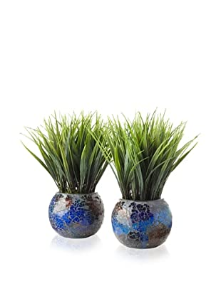 Laura Ashley Set of 2 Grass Mosaic Containers (Turquoise and Brown)