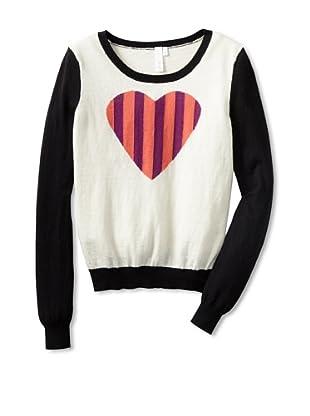 Shae Women's Striped Heart Sweater (Off-White/Multi)