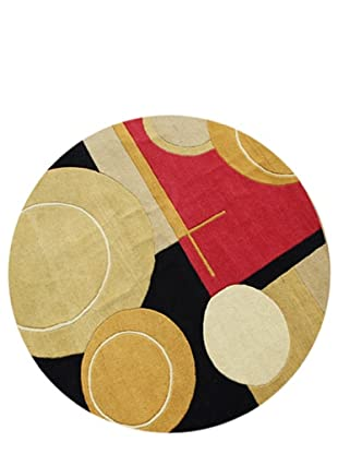 Znz Rugs Gallery Handmade Tufted New Zealand Blend Wool Rug, Black/Red/Tan/Gold, 6' Round