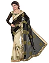 Inddus Women Black & Beige Half & Half Partywear Saree